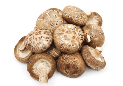 A selection of Shitake Mushrooms on white background